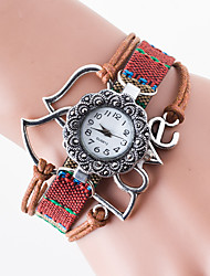 cheap -Women's Hot Style Creative Flower Set Auger Double Hearts LOVE Students Knitting Fashion Watches