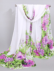cheap -Women's Chiffon Rectangle,Casual Print Spring Summer Fall Green Purple Yellow Light Blue
