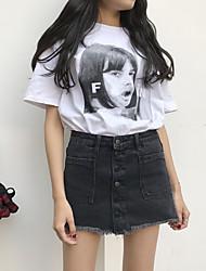 firmare 2017 donne di estate&# 39; s nuova vita sottile Coreano bordi una parola denim nero culottes gonna gonna busto