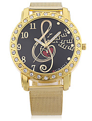 JUBAOLI Women's Fashion Watch Musical symbol Quartz Alloy Band Gold