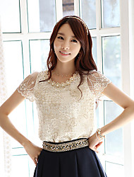 cheap -Women's Daily Wear Classic & Timeless Summer Blouse,Solid Color Round Neck Short Sleeves N/A Medium