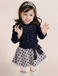 cheap -Girls' Daily Polka Dot Patchwork Clothing Set,Cotton Spring Fall Long Sleeve Dot Lace Navy Blue