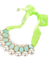 Femme Colliers Déclaration Perle imitée Bijoux Imitation de perle Résine Nylon AlliageRuban Imitation de perle Mode Personnalisé