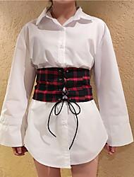 Sign Korean wild temperament chic style long-sleeved plaid shirt + girdle piece