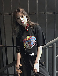 vrai coup au printemps et en été coréen bande dessinée mode rétro imprimé t-shirt à manches courtes T-shirt femme marée t-shirt loose