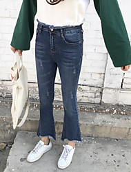Sign 2017 spring new boot-cut pants Slim jeans trousers burr Female