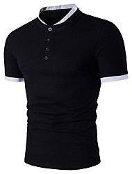 Men's Casual/Daily Sports Simple Active Summer Polo,Color Block Stand Short Sleeve Cotton Rayon Thin