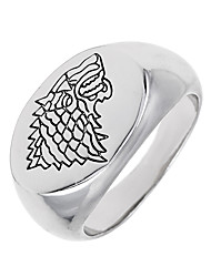 cheap -Band Ring White Alloy Geometric Wolf Animal Circular Unique Design Logo Style Vintage Euramerican Special Occasion Halloween Costume