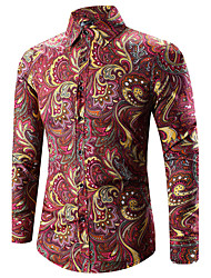 cheap -Men's Daily Vintage Casual Spring Fall Shirt,Print Classic Collar Long Sleeves Cotton Polyester Medium