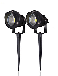 High Power Outdoor Waterproof Decorative Lamp Lighting 5W COB LED Landscape Garden Wall Yard Path Light DC 12V w/ Spiked Stand UK 2 Pack