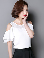 cheap -Women's Daily Wear Chic & Modern Summer T-Shirt,Solid Color Jewel Neck Short Sleeves Polyester Thin