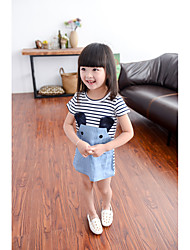 cheap -Girl's Daily Striped Dress, Cotton Summer Short Sleeves Stripes Blue