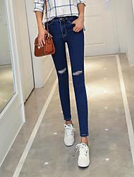 firmare modelli esplosione collant nero ginocchio jeans del foro della vita elastica stretta piedi pantaloni matita