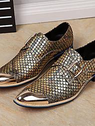 billige -Herre Novelty Shoes Læder Forår / Efterår Komfort / Britisk Oxfords Guld / Sort / Sølv