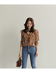 Spring Korean-style retro personality wild temperament floral shirt shirt