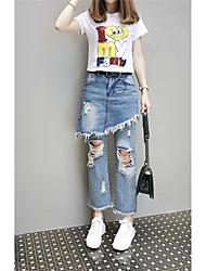 Signe de marque nouvelle jupe européenne jambe jeans jupe irrégulier faux deux pantyhose marée