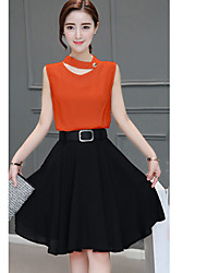 cheap -Women's T-shirt - Solid Colored Skirt
