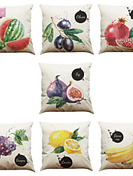 cheap -Set of 7 Hand Painted Fruit Pattern Linen  Cushion Cover Home Office Sofa Square  Pillow Case Decorative Cushion Covers Pillowcases As a Gift
