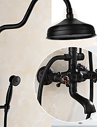 Antique Centerset Rain Shower Ceramic Valve Three Holes Two Handles Three Holes Oil-rubbed Bronze , Shower Faucet