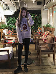 Sign wild thin fashion tide Fan girl's mind pondering cartoon chick embroidered sweater female hedging