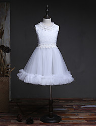 A-Line Knee Length Flower Girl Dress - Tulle Satin Chiffon Sleeveless Jewel Neck with Ruffles