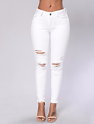 cheap -Women's Slim Jeans Chinos Pants - Solid, Hole High Waist