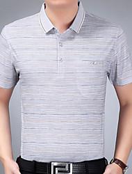 t-shirt vestito estivo a righe padre di mezza età uomini di mezza età&# 39; s maglietta casuale di polo giacca camicia bavero a
