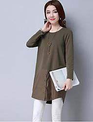 2017 printemps nouveau manches longues t-shirt femme longue coupe de fond chemise était mince couture veste décontractée