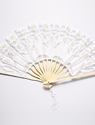 cheap -White Crown Design Lace Hand Fan Wedding Favors Classic Them