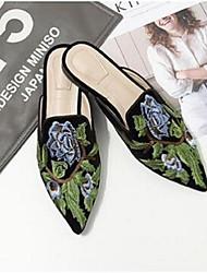 Недорогие -Жен. Обувь Замша Удобная обувь Башмаки и босоножки На плоской подошве Черный / Коричневый / Зеленый