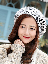 cheap -Women Autum Winter Vintage Casual Wool Leopard Dot Printing Octagonal Beret Hat