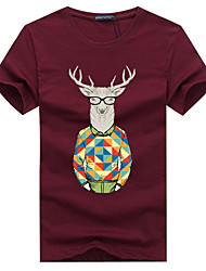 cheap -Men's Sports Casual Plus Size Cotton T-shirt Print Round Neck