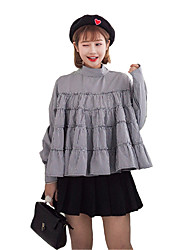 Sign 2017 spring new dress flouncing Puff swing back and forth through two theatrical doll models plaid shirt student