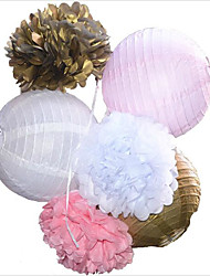 cheap -5pcs/lot 8 20cm Decorative Tissue Paper Honeycomb Balls Flower Pastel Birthday Baby Shower Wedding Holiday Party Decorations