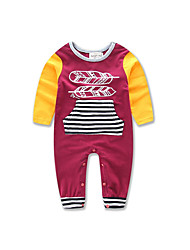 cheap -Baby Unisex Daily Formal Going out Striped Color Block Patchwork One-Pieces, Cotton Polyester Spring Summer All Seasons Stripes Long