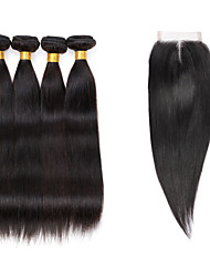 7A Indian Human Virgin Hair Straight 4*4 Lace Closure With 4 Bundles Hair Weft