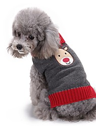 cheap -Cat Dog Sweater Dog Clothes Winter Reindeer Cute Fashion Christmas Grey Acrylic Cosplay Dog Clothing
