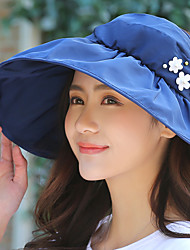 Dámské Vintage Na běžné nošení Léto Sluneční klobouk,Jednobarevné Polyester Vodní modrá Rubínově červená Světlá růžová Námořnická modř
