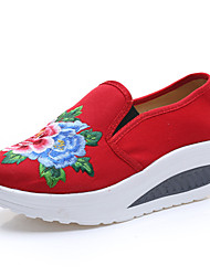 cheap -Women's Shoes Fabric Spring Fall Comfort Flats Flat Heel Flower for Casual Navy Blue Red Light Blue