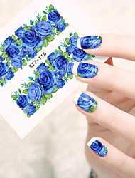 cheap -10pcs/set Sweet Style Nail Art Water Transfer Decals Romantic Blue Rose Design Beaitiful Nail Art Decals STZ-116