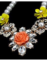 Жен. Ожерелья с подвесками Multi-камень Искусственный жемчуг В форме цветка Синтетические драгоценные камни Цветочный дизайн Цветы