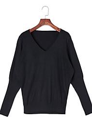 Damer Sexet Simpel Sødt I-byen-tøj Afslappet/Hverdag Ferie Normal Pullover Ensfarvet,V-hals Langærmet Uld Forår Efterår Medium