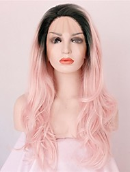 cheap -Fashion Natural Long Wavy Ombre Baby Pink Fiber Hair for Party Heat Resistant Half Handmade Synthetic Lace Front Wigs