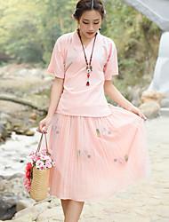 davvero facendo tailleur vestito tè femminile camicia cinese migliorato cheongsam ricamato garza + pezzo gonna a pieghe