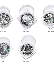 1PC Laser Iridescence Silver Vertical Stripes Nail art Sequins Circular Five-Pointed Star of Love
