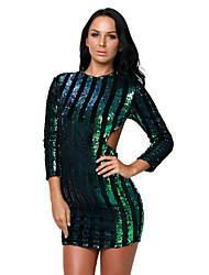 Women's Multicolor Sequins Hollow-out Club Dress