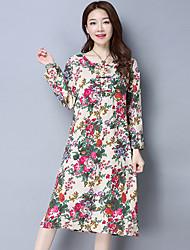 2017 printemps femmes&# Air vent national robe imprimée robe de coton robe de tempérament littéraire