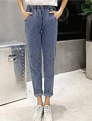 Sign bf 2017 Korean version of Harajuku style retro denim trousers elastic waist loose wild female small straight jeans