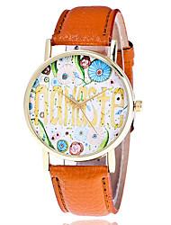abordables -Mujer Cuarzo Reloj de Pulsera Gran venta Piel Banda Creativo Casual Reloj con palabras Moda Cool Negro Blanco Marrón Verde Gris
