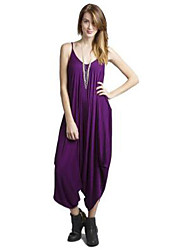 cheap -Women's Plus Size Beach Going out Jumpsuit - Solid Colored, Cut Out V Neck